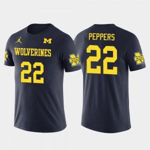 #22 Cleveland Browns Football Navy Future Stars Jabrill Peppers Michigan T-Shirt Men 138174-752