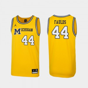 Jaron Faulds Michigan Jersey #44 Maize Replica 1989 Throwback College Basketball Mens 907034-497