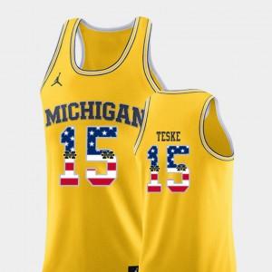Jon Teske Michigan Jersey College Basketball #15 USA Flag Yellow For Men's 263375-974