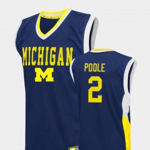 #2 Blue For Men Jordan Poole Michigan Jersey College Basketball Fadeaway 403490-554