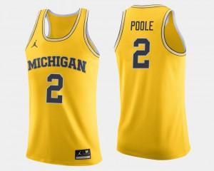 College Basketball Mens Maize Jordan Poole Michigan Jersey #2 467805-482