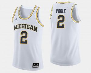 White Jordan Poole Michigan Jersey #2 College Basketball Mens 628059-946