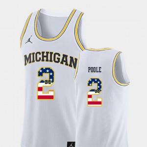 White Jordan Poole Michigan Jersey Mens College Basketball #2 USA Flag 424541-924
