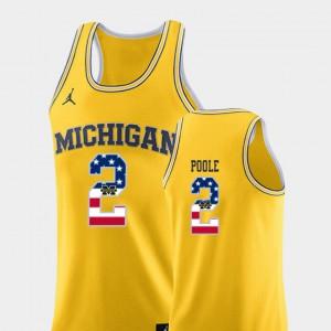 For Men Yellow #2 USA Flag College Basketball Jordan Poole Michigan Jersey 616897-457
