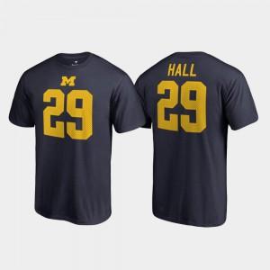 #29 Navy College Legends Men Name & Number Leon Hall Michigan T-Shirt 168857-410