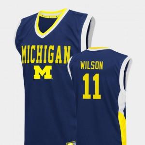 Fadeaway #11 College Basketball For Men Luke Wilson Michigan Jersey Blue 397634-606