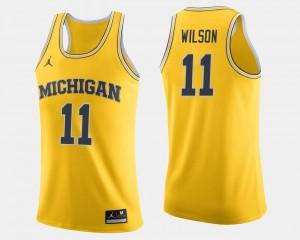 For Men's #11 College Basketball Maize Luke Wilson Michigan Jersey 209567-929