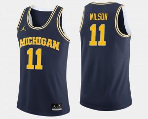 College Basketball For Men's Luke Wilson Michigan Jersey Navy #11 812051-764