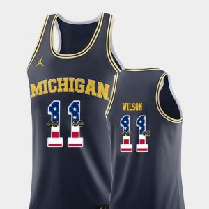 #11 Luke Wilson Michigan Jersey USA Flag Navy Men's College Basketball 190820-950