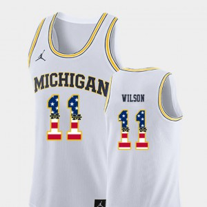 #11 For Men's White USA Flag Luke Wilson Michigan Jersey College Basketball 261990-154
