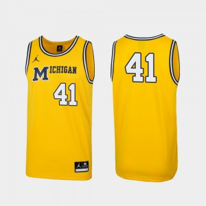 Maize 1989 Throwback College Basketball #41 For Men's Replica Michigan Jersey 632817-491