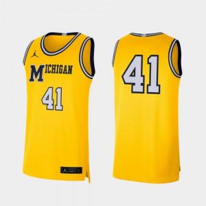 Men's Maize #41 Retro Limited Michigan Jersey College Basketball 420832-745
