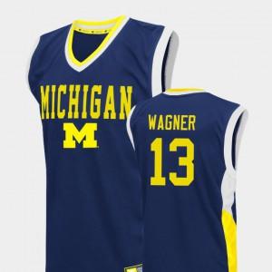 Men's Blue College Basketball Fadeaway Moritz Wagner Michigan Jersey #13 200936-264