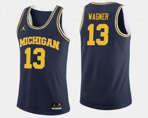 Navy Men Moritz Wagner Michigan Jersey #13 College Basketball 914830-706