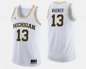 Mens #13 College Basketball White Moritz Wagner Michigan Jersey 309081-814