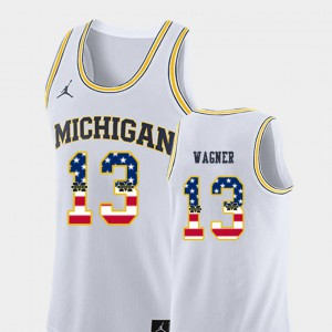 For Men Moritz Wagner Michigan Jersey USA Flag White College Basketball #13 897496-175