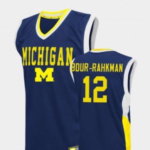 Muhammad-Ali Abdur-Rahkman Michigan Jersey #12 Fadeaway College Basketball Mens Blue 383685-351