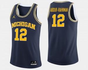 #12 College Basketball For Men Muhammad-Ali Abdur-Rahkman Michigan Jersey Navy 574366-327