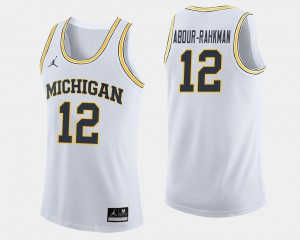 White #12 College Basketball For Men's Muhammad-Ali Abdur-Rahkman Michigan Jersey 753266-381