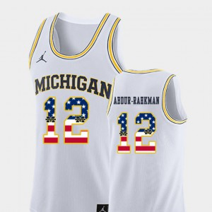 #12 College Basketball White USA Flag Mens Muhammad-Ali Abdur-Rahkman Michigan Jersey 865933-429