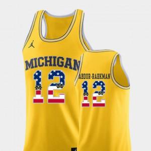 USA Flag Yellow For Men's #12 College Basketball Muhammad-Ali Abdur-Rahkman Michigan Jersey 950811-288