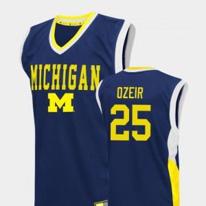 Men's Blue Naji Ozeir Michigan Jersey #25 College Basketball Fadeaway 433419-807