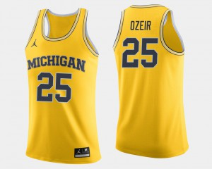 Naji Ozeir Michigan Jersey #25 College Basketball For Men's Maize 686799-764