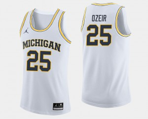#25 Men White College Basketball Naji Ozeir Michigan Jersey 665895-279