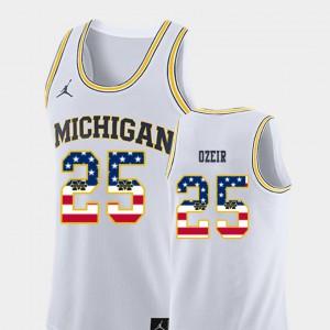 Naji Ozeir Michigan Jersey College Basketball USA Flag #25 White For Men 742087-393