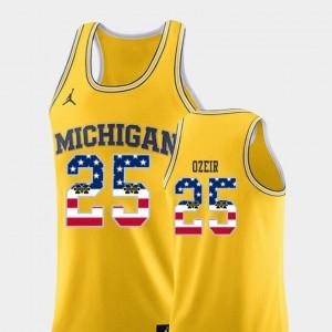 Naji Ozeir Michigan Jersey For Men's Yellow USA Flag #25 College Basketball 488407-874