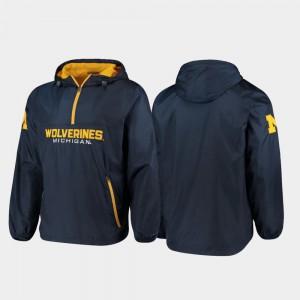 Navy Half-Zip Base Runner Men's Michigan Jacket 849757-371