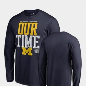 Michigan T-Shirt Navy 2018 Peach Bowl Bound For Men Counter Long Sleeve 416417-276