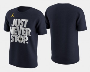 Men Navy Basketball Tournament Just Never Stop Michigan T-Shirt March Madness Selection Sunday 727652-951