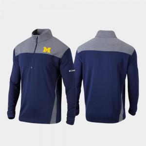 Quarter-Zip Pullover Mens Omni-Wick Standard Michigan Jacket Navy 603189-172