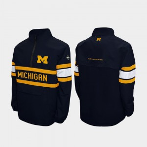 Quarter-Zip Alpha Windshell Pullover Mens Navy Michigan Jacket 868706-489