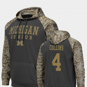 United We Stand #4 Nico Collins Michigan Hoodie Men Charcoal Colosseum Football 276822-785