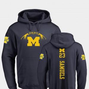 #23 College Football O'Maury Samuels Michigan Hoodie Men's Navy Backer 794988-228