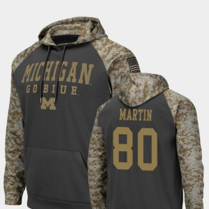 Charcoal United We Stand Colosseum Football For Men's #80 Oliver Martin Michigan Hoodie 701661-600