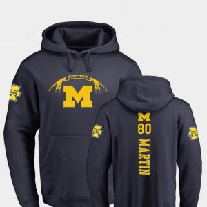 Navy Oliver Martin Michigan Hoodie #80 College Football Men Backer 312381-763