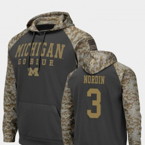 Charcoal Quinn Nordin Michigan Hoodie Colosseum Football #3 United We Stand For Men's 456446-680