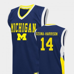 Blue For Men's College Basketball Rico Ozuna-Harrison Michigan Jersey #14 Fadeaway 759711-653