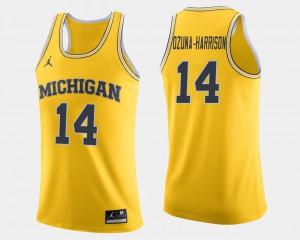 Rico Ozuna-Harrison Michigan Jersey Maize #14 College Basketball Mens 766808-694
