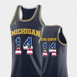 For Men Navy College Basketball USA Flag #14 Rico Ozuna-Harrison Michigan Jersey 744202-672