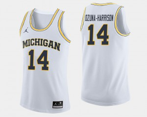 Rico Ozuna-Harrison Michigan Jersey College Basketball White For Men #14 670851-237