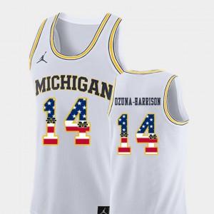 USA Flag College Basketball Rico Ozuna-Harrison Michigan Jersey Men #14 White 733876-666