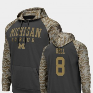 Charcoal Colosseum Football Ronnie Bell Michigan Hoodie #8 United We Stand Men's 475559-715