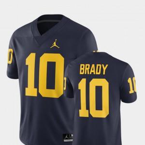 2018 Alumni Football Game Navy #10 Men's Tom Brady Michigan Jersey 157176-518
