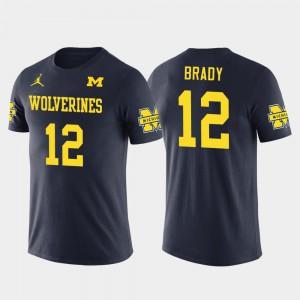 Navy Tom Brady Michigan T-Shirt Future Stars New England Patriots Football #12 Men's 645168-622