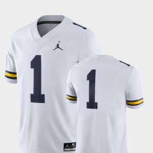 #1 White Michigan Jersey For Men's 2018 Game College Football 219998-830