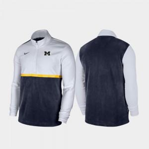 Color Block Quarter-Zip Pullover White Navy Michigan Jacket Men 512477-289